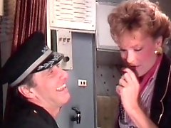 Stewardess gives an incredible blowjob in the plane