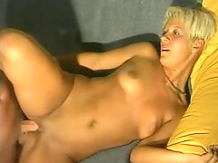 Short-haired German girl shows him how to fuck