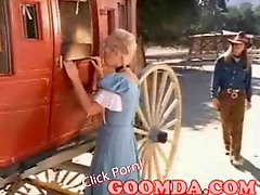 Busty vintage blonde licked in a coach