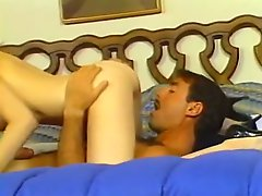 Vintage brunette seductress with big boobs gets her hairy vag fucked