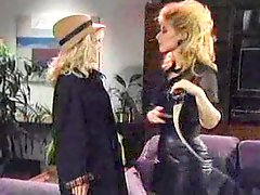 Blonde lesbians in 80s porn scene go at it