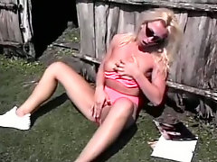 Masturbation quickies of two delectable brunette and blonde babes