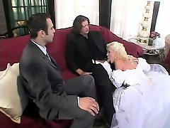Fresh bride gets broken in by the groom and his best mans dicks