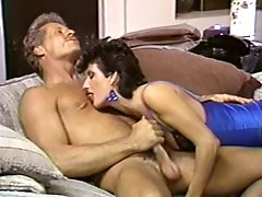 Lusty black haired cock sucker presents awesome BJ to her mature fellow