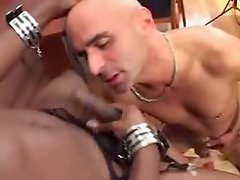 Ebony Tranny dong is sucked by bald-headed man