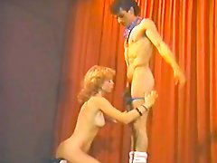 Juicy curly blondie gets brutally fucked by stripper on the stage