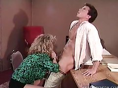 Retro video with curly blonde getting fucked from behind