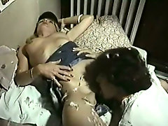 Blond haired lesbian eats hairy pussy of her lusty kooky in flying 69 pose