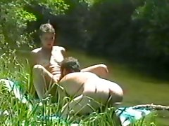 An amateur couple does some skinny dipping and fucking in the river