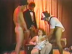 Gangbang with sexy brunette and cunnilingus to the blonde