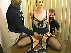 Slim blonde hottie enjoys interracial banging with three men