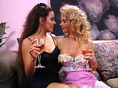 Felecia and Marilyn play with each others vags in retro lesbian scene