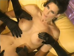 Beautiful vintage babe gets her holes filled with huge sex toys
