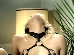 Busty classic blonde wearing sexy lingerie gets her pussy licked