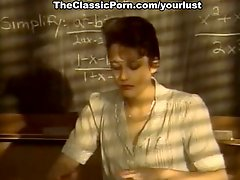 Short haired kinky brunette college professor sucks strong cock for cum