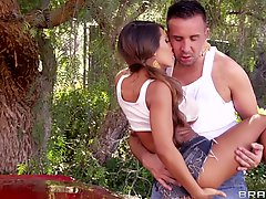 Car wash babe Madison Ivy fucked on the hood of his classic