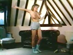 Retro workout with a curly hair blonde