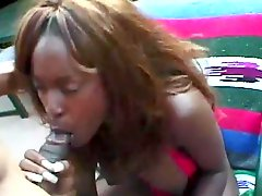 Outdoors sex with the horny ebony milf Dominique Simone