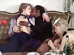 Two blonde retro babes share big black cock