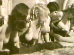 Vintage group sex in room with delicious busty milfs