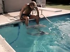 Lusty blonde hoe gives head and gets licked over the pool