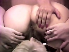 Blonde and brunette lesbians toying and licking pussies 69 style