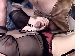 Dirty-minded blonde whore gets fucked from behind by her cowboy
