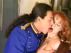 Retro porn with blowjob and leather jacket girl fuck