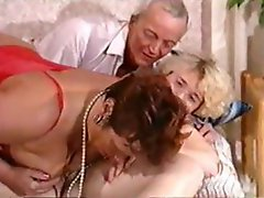 Extreme German kink from a chubby blonde, a mature redhead and an old fart