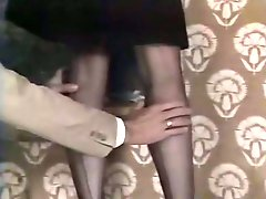 Lusty maid wearing sexy stockings seduces her master and gets her pussy licked