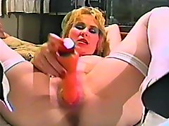 Kinky vintage blonde moans crazily while fingering and toying her cunt
