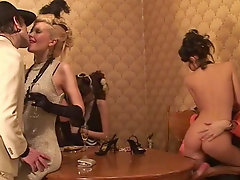 Arousing group sex on a retro style party