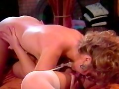 Sexy ladies have a lesbian scene in vintage clip