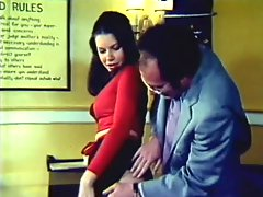 Retro Brunette Babe With a Round Ass Gets Fucked and Jizzed in the Office