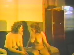 Retro FFM homemade clip with two bosomy amateur brunettes