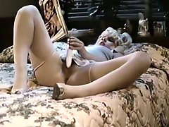 Blond thirsting wifey masturbates while her hubby doggy fucks hot brunette tramp