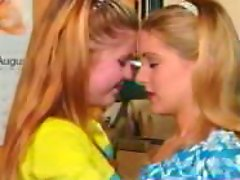 Two sweet teens enjoy eating each others vags in a retro clip