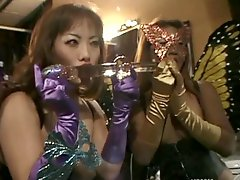 Asian babes strip,show natural tits and nice ass in retro backstage scene