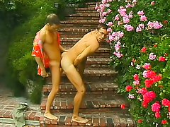 Muscled gay studs exchange oral pleasures and fuck hard by the pool