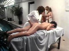 Lesbian massage turns into threesome