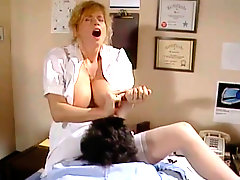 Hot tempered busty nurse gets her wet hairy pussy eaten