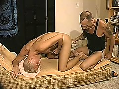 Bleach blonde dude gets skewered, by his tattooed gay lover, with dildos