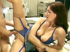 Jizz on her retro pussy