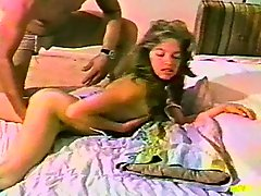 Horny babe plays with her bush before being fucked in vintage clip