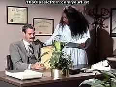 White slutty secretary and ebony office worker enjoy MFF threesome
