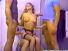 Nasty blonde fucks three guys in the toilet