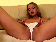 Sexy Willa in white panties shows her pink snatch