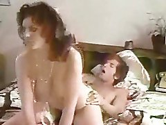 Sexy brunette strips and fucks inside in vintage porn
