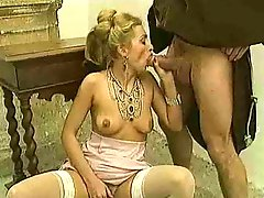 Chicks in stockings take dick in classic movie