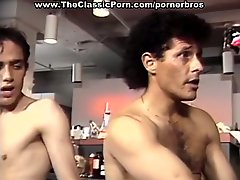 Sexy retro brunette gets double penetration